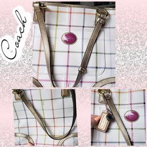 Coach bag purse tote white plaid